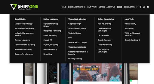 mega flyout website menu example